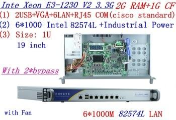 routeros 1U network Firewall with six intel PCI-E 1000M 82574L Gigabit LAN Inte Quad Core Xeon E3-1230 V2 3.3Ghz 2G RAM 1G CF
