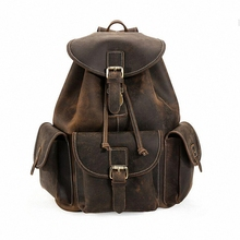 New arrival 2016 Classic vintage men backpack crazy horse genuine leather men bag Travel Cowhide Backpacks school bags LI-1320