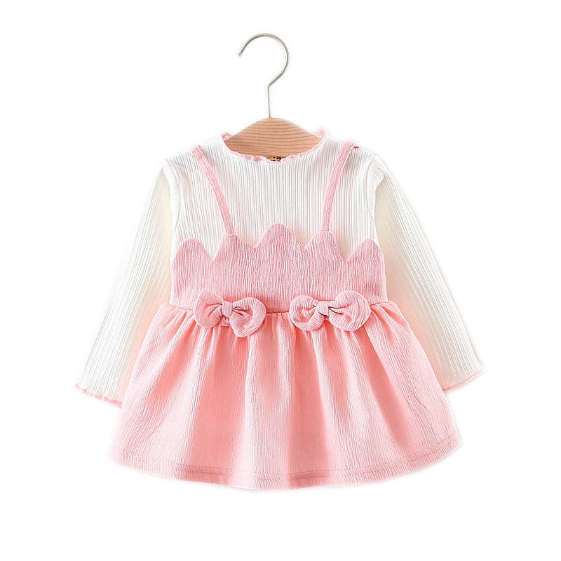 2018 New Spring Summer Baby Girls Dress Long Sleeve Casual Newborn Clothing One-Piece Bow Infant Princess Dresses
