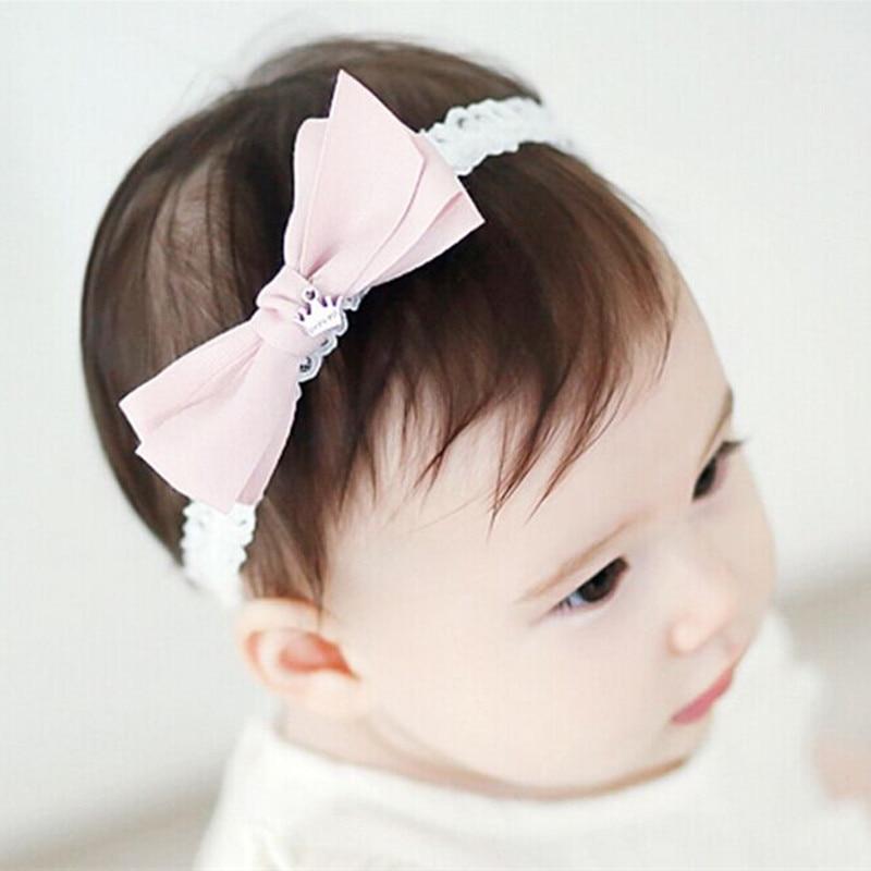 f44158d0deee1a 10 teile/los Grau Rosa Haarschleife Elastisches Stirnband Kind Prinzessin  Weiß Spitze Stretch Haarband Doppelschicht Kurze Silber Krone Band in 10  teile/los ...