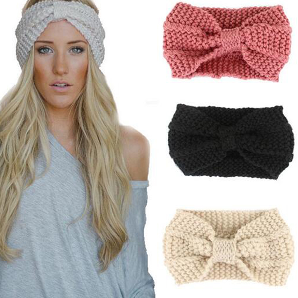 1 PC New Women Lady Crochet Bow Knot Turban Knitted Head Wrap Hairband Winter Ear Warmer Headband Hair Band Accessories Fashion metting joura vintage bohemian green mixed color flower satin cross ethnic fabric elastic turban headband hair accessories