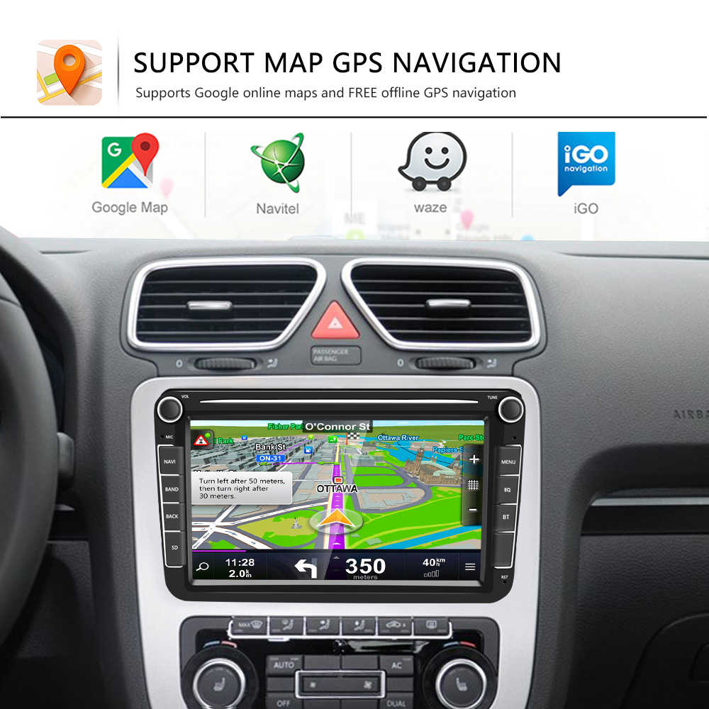 Podofo 2 Din Android 8.1 Xe Máy Bộ Đàm GPS Đa Phương Tiện Cho VW/Volkswagen Golf//Passat/B7/B6/Skoda/Ghế/Octavia/Polo/Tiguan