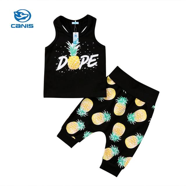 Sin mangas de algodón niños bebé niño chaleco + Pantalones cortos 2 PC trajes de dibujos animados de verano ropa bebé conjunto