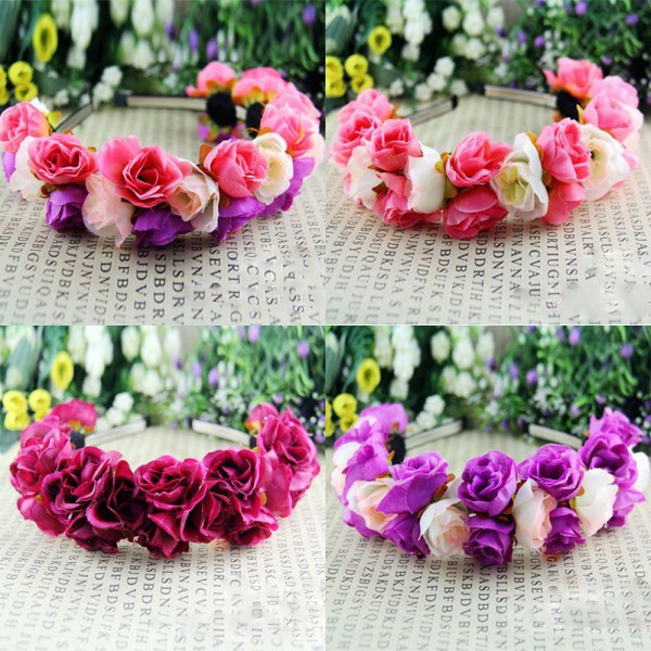 Rose Flower Crown Headbands for Women  Festival Double Row Floral Garland Hairbands gothic flower crown garland for women