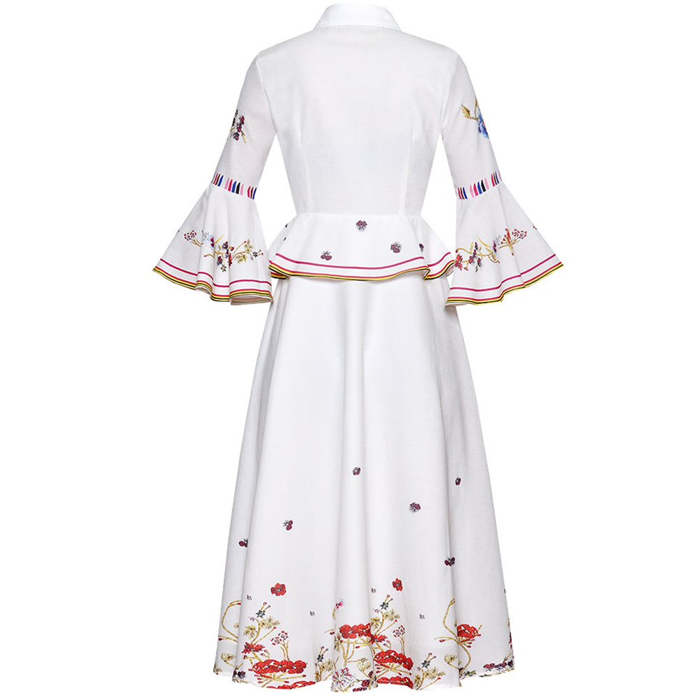 Rot RoosaRosee Runway Sommer Frauen Diamant Vintage Print Flare Hülse Elegante Midi Kleid Eelgant Weiß Party Vestidos Robe Femme-in Kleider aus Damenbekleidung bei  Gruppe 2
