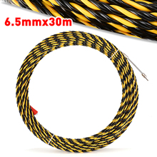 цена на 30M 6.5mm Electrical Wire Cable Puller Threader Cable Running Rods Nylon Tape Conduit Ducting for Wire Pulley