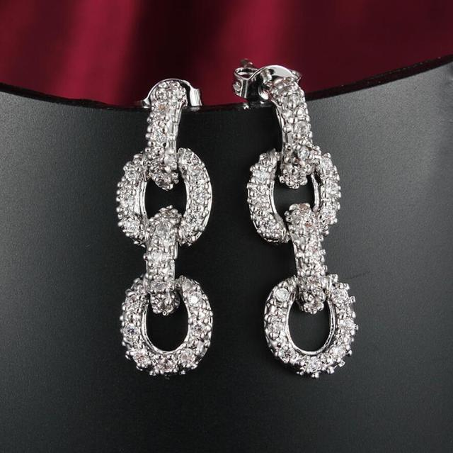 Victoria Originality Luxury Jewelry High Quality Hot 18KT White Gold Filled Pave Micro Shinning CZ Chain Women Stud Earring Gift