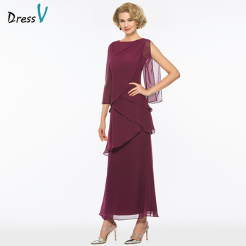 Dressv grape ankle length scoop neck a line mother of bride dress with 3/4 sleeves tiered long mother evening gown custom size