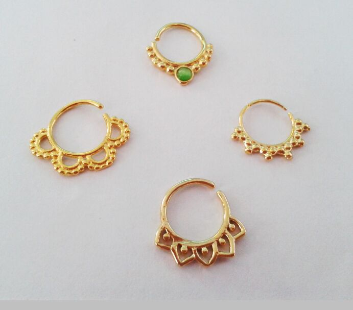 4pcs mixed gold nose ring real 16g septum ring indian body jewelry
