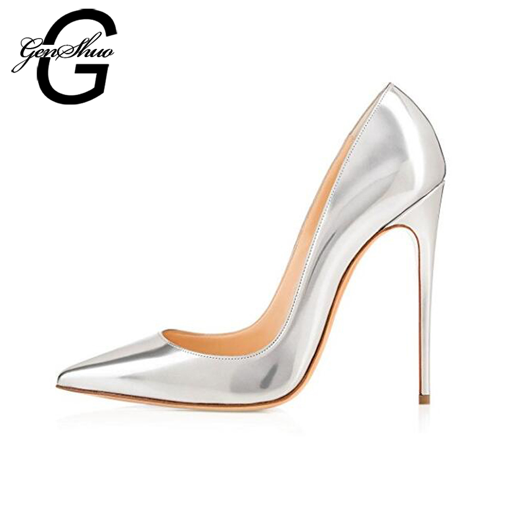 GENSHUO Brand Shoes Women Plus Size 6-12 Women's Shoes High Stiletto Heels Pointed Toe Shallow Party Wedding Shoes Silver Pumps