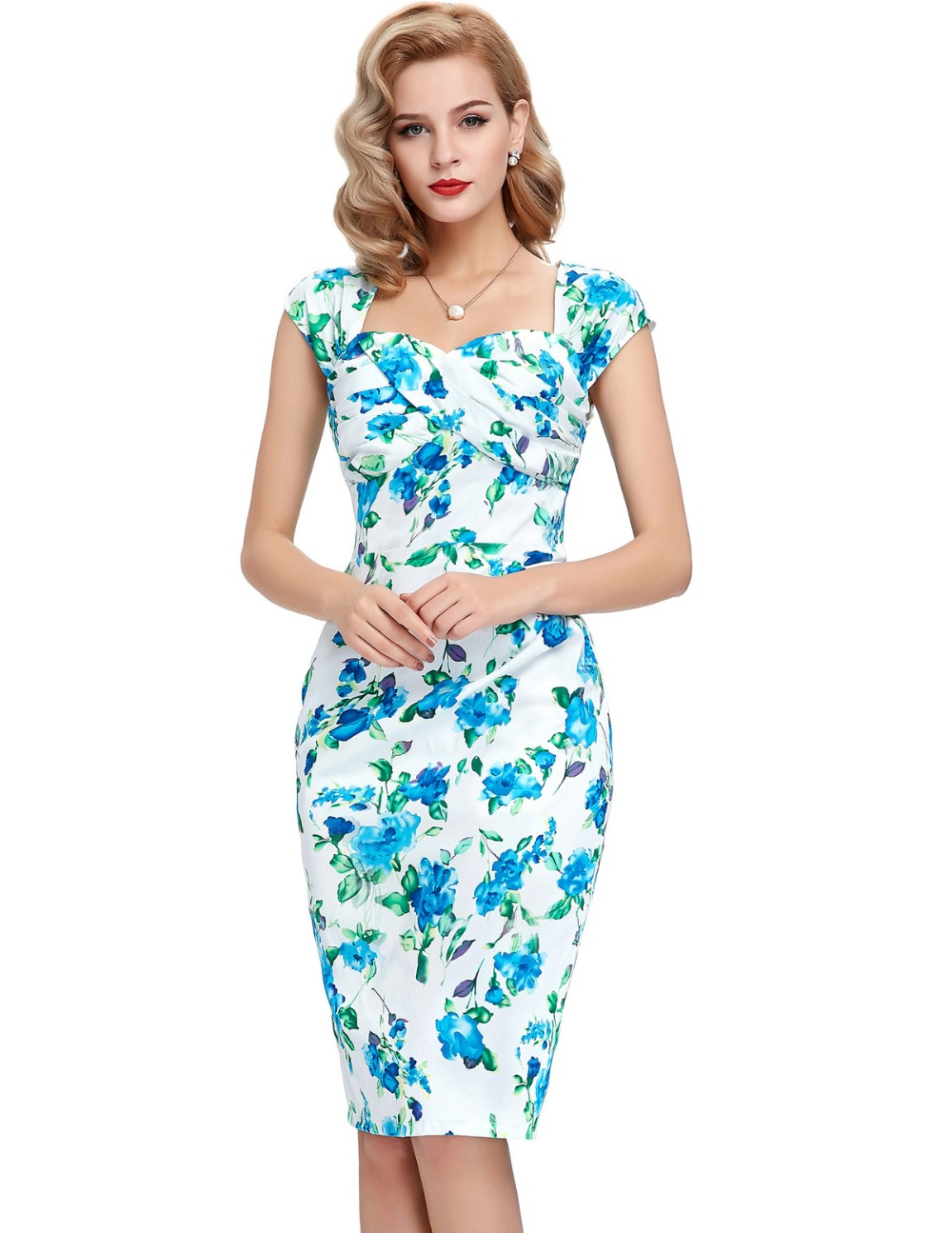 Womens Sexy Elegant Summer Fashion Floral Flower Vintage Dresses ...