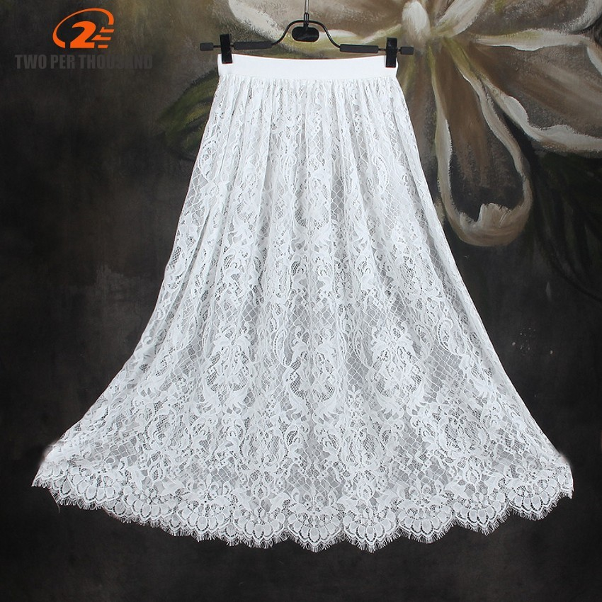 hot Summer Women Sexy Lace Skirts Fashion Solid Casual Mesh tulle skirt Hollow Out Long A-Line Elegant Black White Maxi Skirt