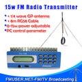 New! FMUSER FU-15B 15 Вт fm-передатчик PC Control Температура и КСВ Защита 0-15 Вт регулируемая + 1/4 GP антенна КОМПЛЕКТ