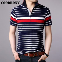 COODRONY Brand Turn-down Collar T Shirt Men Business Casual Striped Short Sleeve T-Shirt Spring Summer Mens T-Shirts S95036