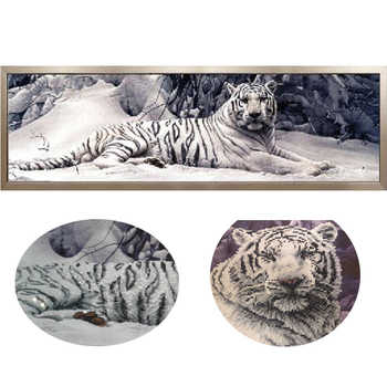 5D Diy Diamond Painting Cross Stitch White Tiger Round Diamond Mosaic Diamond Embroidery Animals Home Paintings hobbies crafts - DISCOUNT ITEM  56% OFF All Category