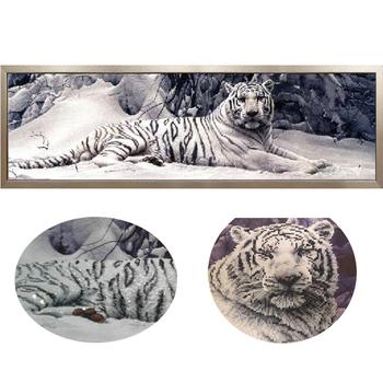 5D majsterkowanie malowanie diamentowa ścieg krzyżykowy biały tygrys okrągły diamentowy mozaika haft diamentowy zwierzęta obrazy domowe hobby rzemiosło tanie i dobre opinie GELANYOUPIN Zwinięte 1-30 Europa Żywica Kolorowe pudełko Zwierząt Częściowe Tak ( 50 sztuk) Trójwymiarowy GLYP-008