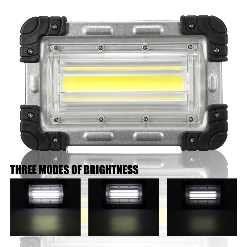 30W COB LED Floodlight Portable Rechargeable Battery Powered Flood Spot Light Work Camping Outdoor Lamp Lantern cob led flood light dimmable 100w portable led floodlight cordless work light rechargeable spot outdoor working camping lamp