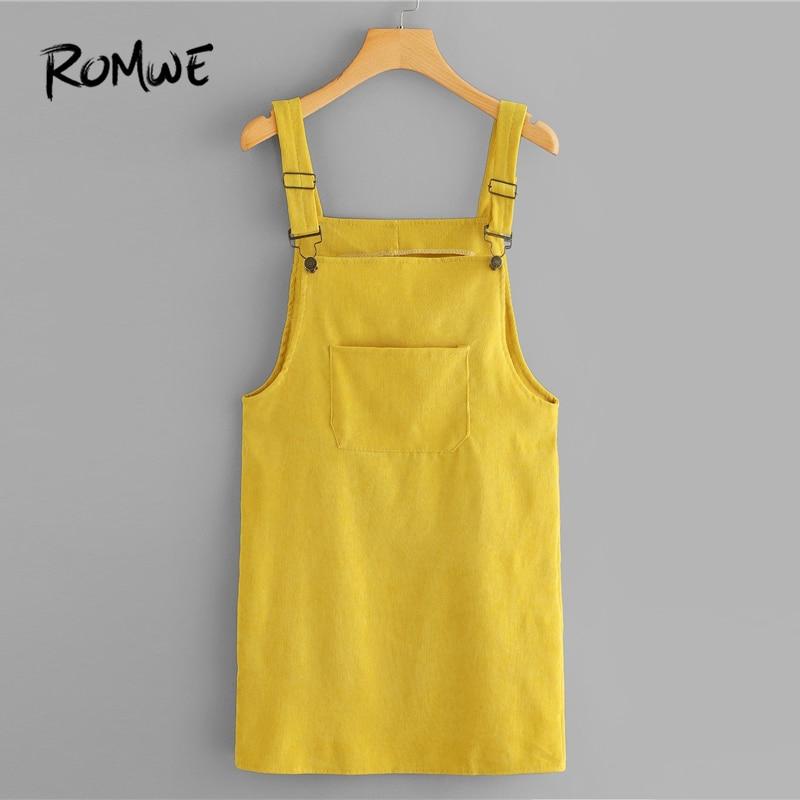 ROMWE Cord Latzhose Kleid Mit Tasche Sommer Gelb Ärmel Straps Pinafore Frauen Casual Plain Gerade Kurze Kleid