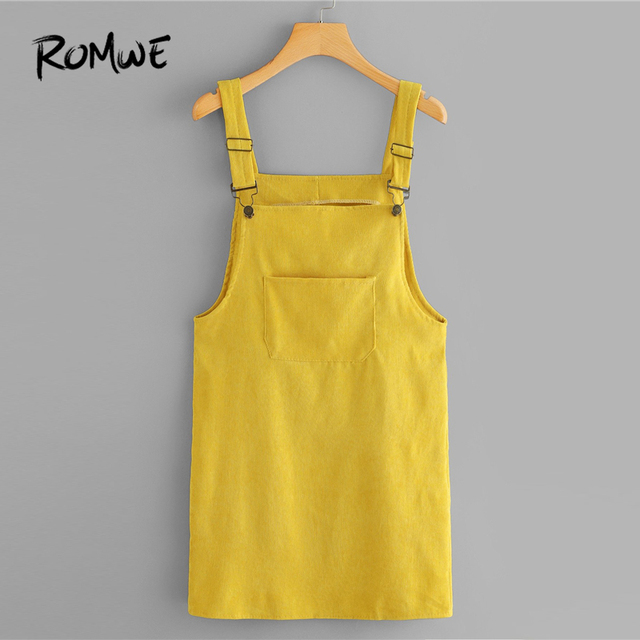 eb392723f9c ROMWE Corduroy Dungaree Dress With Pocket Summer Yellow Sleeveless Straps  Pinafore Women Casual Plain Straight Short