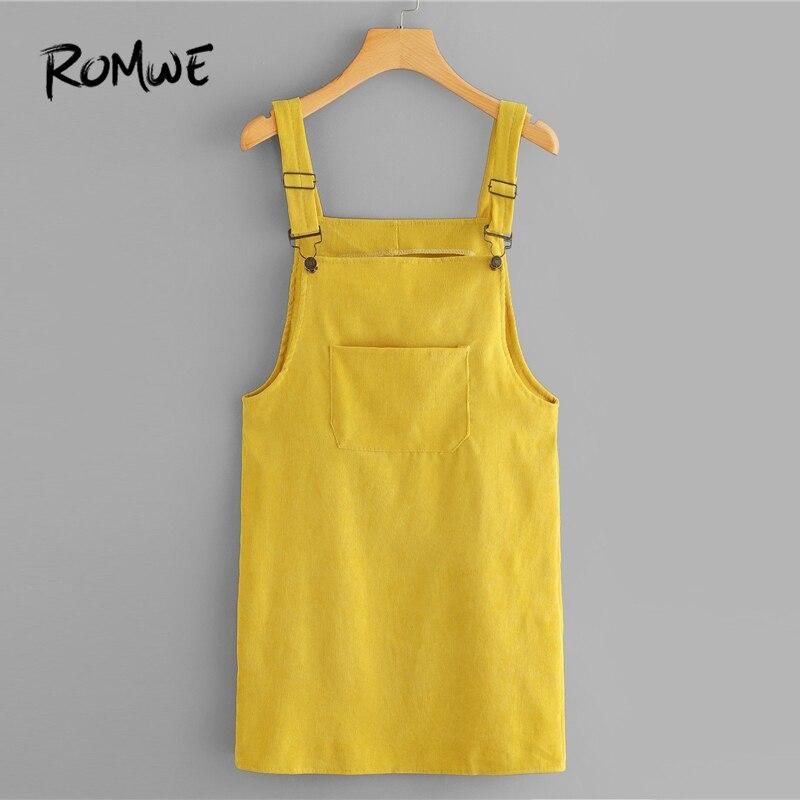 ROMWE de pana vestido peto con bolsillo de verano amarillo correas sin mangas vestido de mujer Casual simple Vestido corto recto