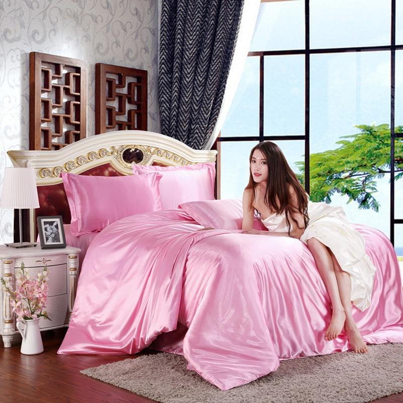 Ice silk 4pcs solid color simulation silk satin summer bedding set duvet cover set Pillowcases bed