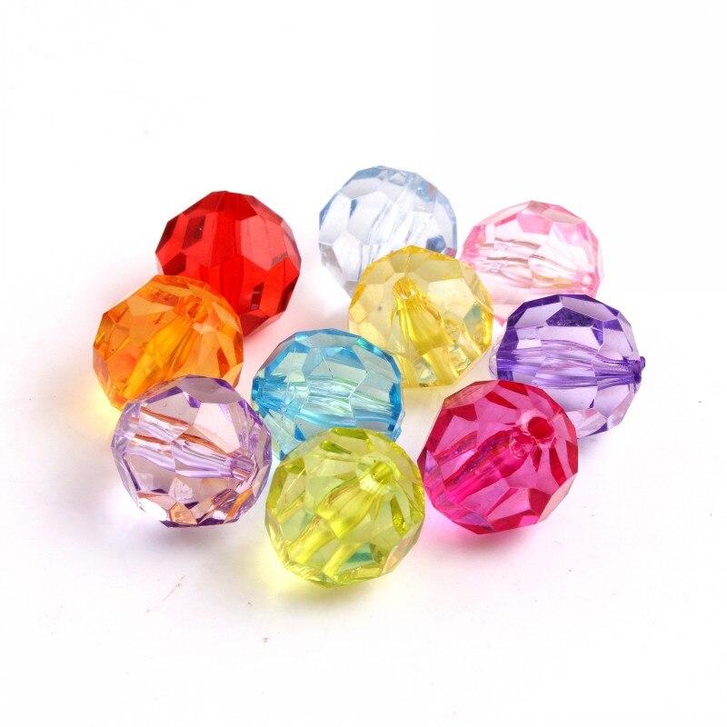 Grânulos facetados transparentes acrílicos coloridos de kwoi vita 20mm/4mm a 24mm para colar frisado robusto das crianças