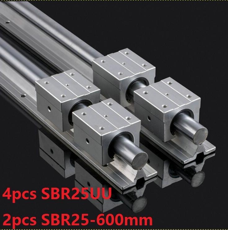 2pcs SBR25 25mm -L 600mm support rail linear guide + 4pcs SBR25UU linear bearing blocks for CNC router parts linear rail guide best price for 2pcs sbr25 l950m linear guide 4pcs sbr25uu bearing blocks