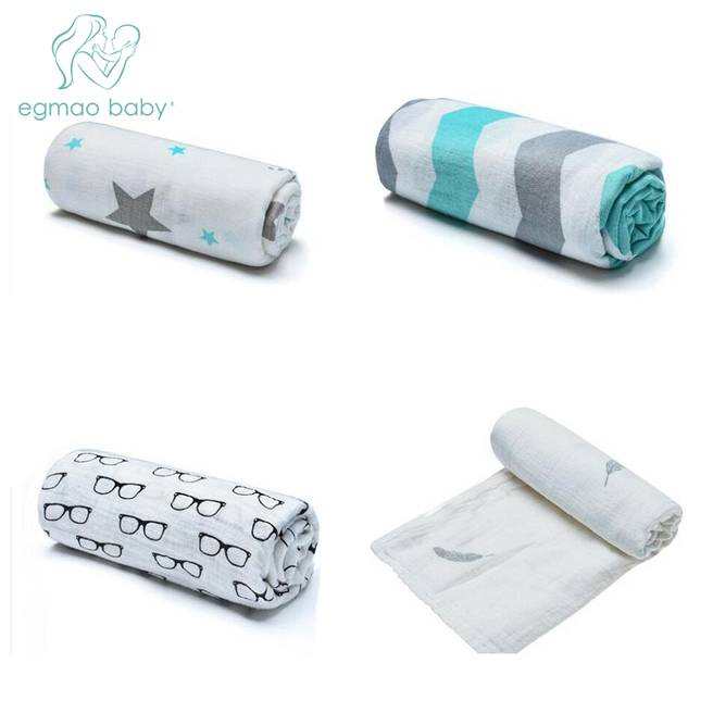 2017 Hot Sale Newborn Baby Large 47 x 47 inch Baby Muslin Swaddle Blankets Premium Organic Soft Cotton Baby Swaddle Blankets