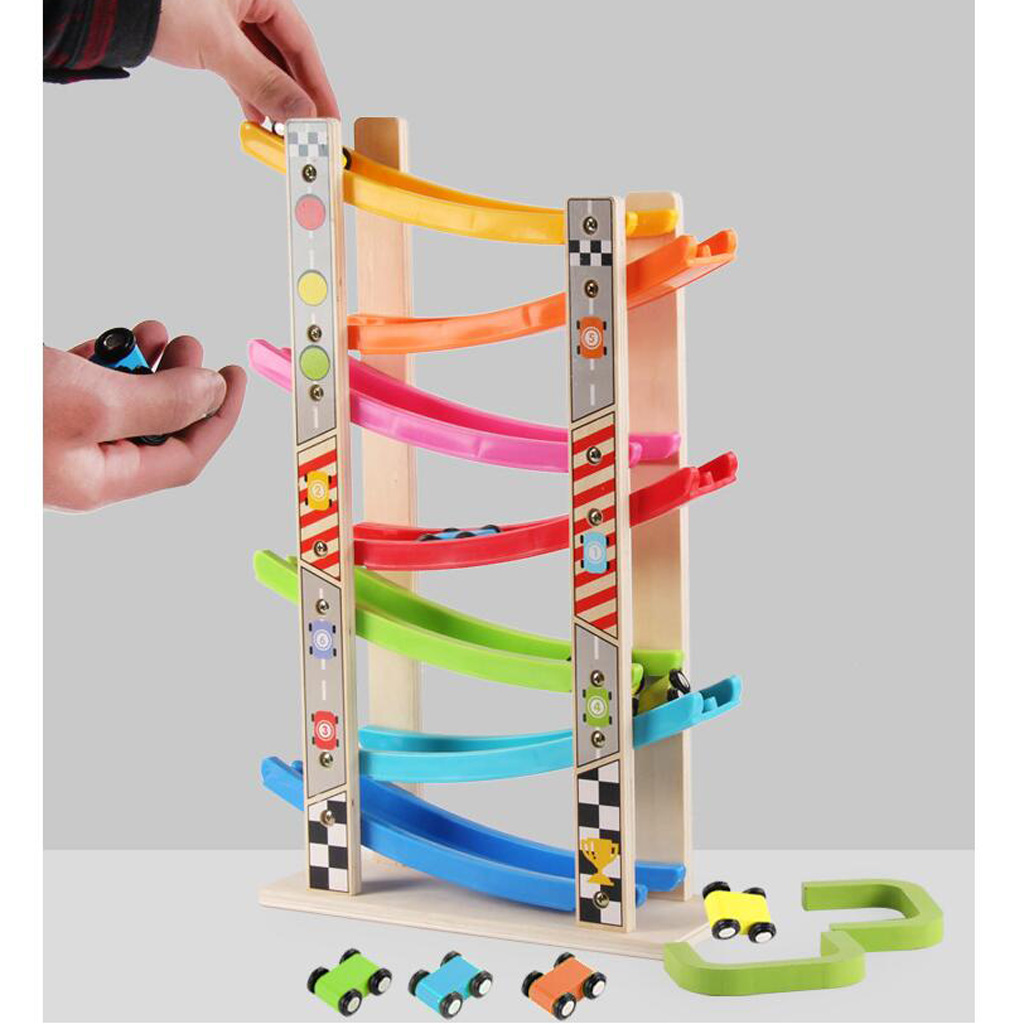 Wooden 7 Layer Ramp Race Track Car Ramp Racer With 8 Mini Inertia Cars Sliding Toy
