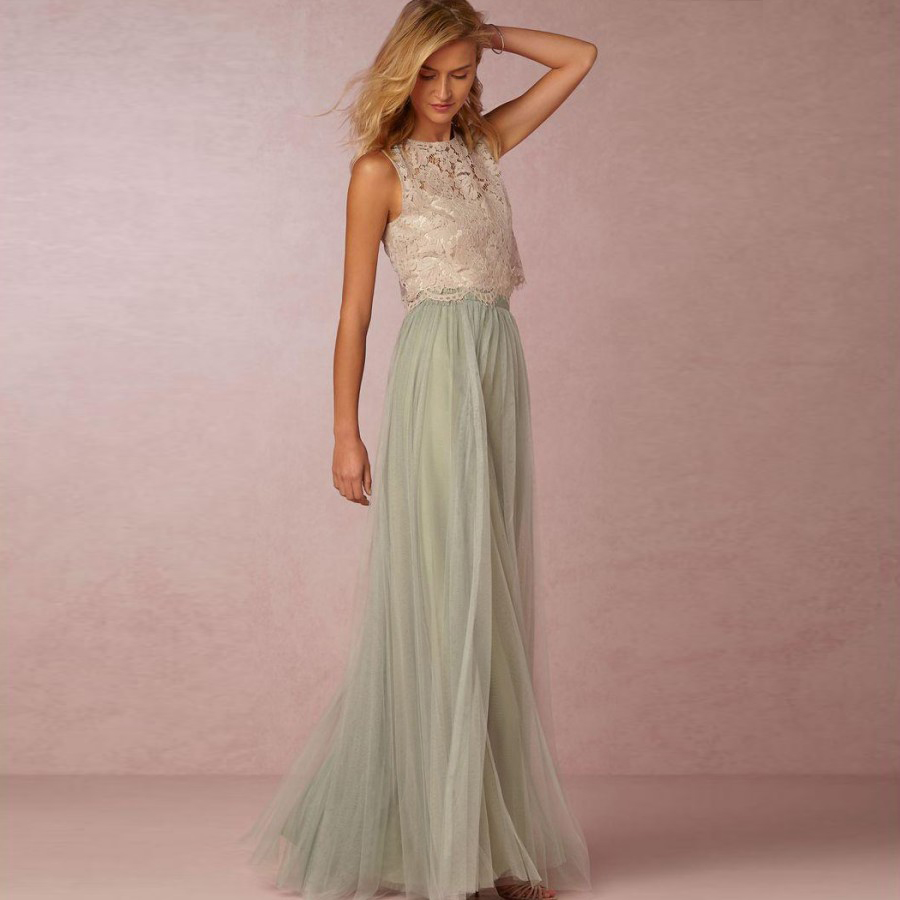 New fashion sage green bridesmaid dresses 2017 lace tulle for A line wedding dresses 2017