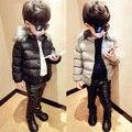 2016 inverno nova moda de algodão-acolchoado marca gola de pele espessamento wadded jaqueta casaco bebê criança sólida outwear para meninos venda quente