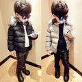 2016 new winter fashion cotton-padded wadded solid jacket baby coat child fur collar brand thickening outwear for boys hot sale