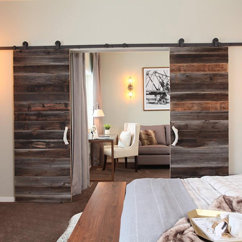 Wood sliding barn doors - 2300mm To 4880mm Double Sliding Barn Door Heavy Duty Modern Wooden Sliding Barn Door Hardware