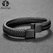 Мужской плетеный кожаный браслет jiayiqi черный/коричневый из