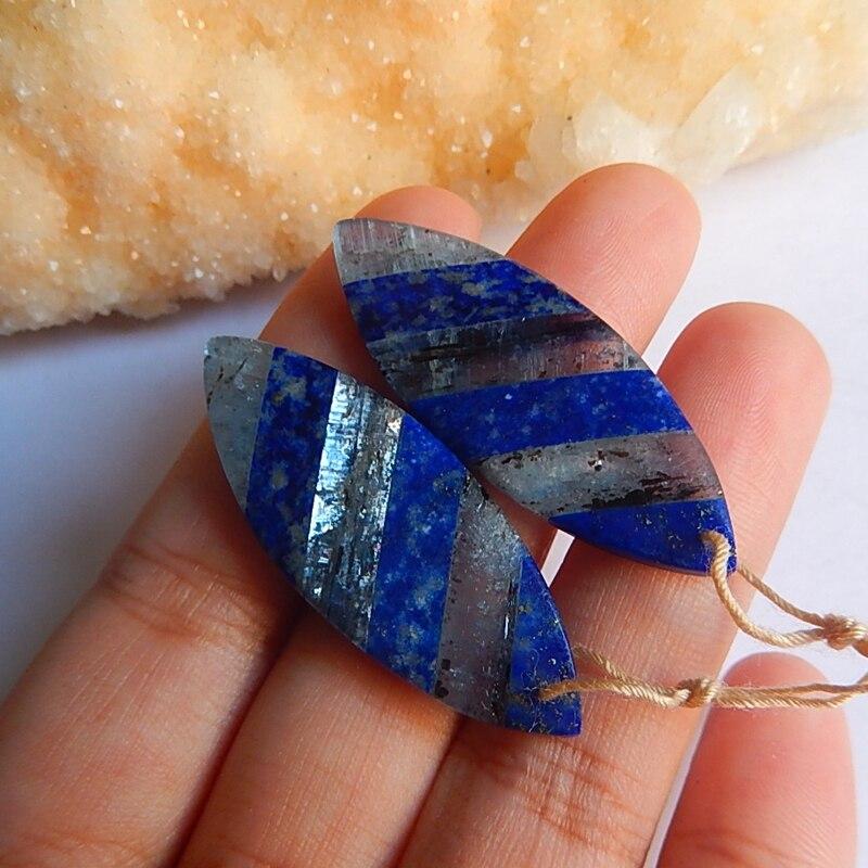 Semiprecious Stone Geometric Lapis Lazuli Blue Kyanite Earring Beads 40x15x4mm 8.7g Natural Stone Women Earrings Accessories