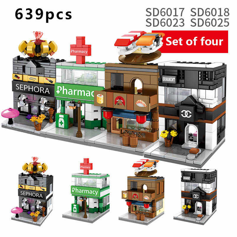 4sets/ Compatible Children's Building Blocks Toy Mini City Street View Shop Series Diy Bricks Kid Gift With Original Box