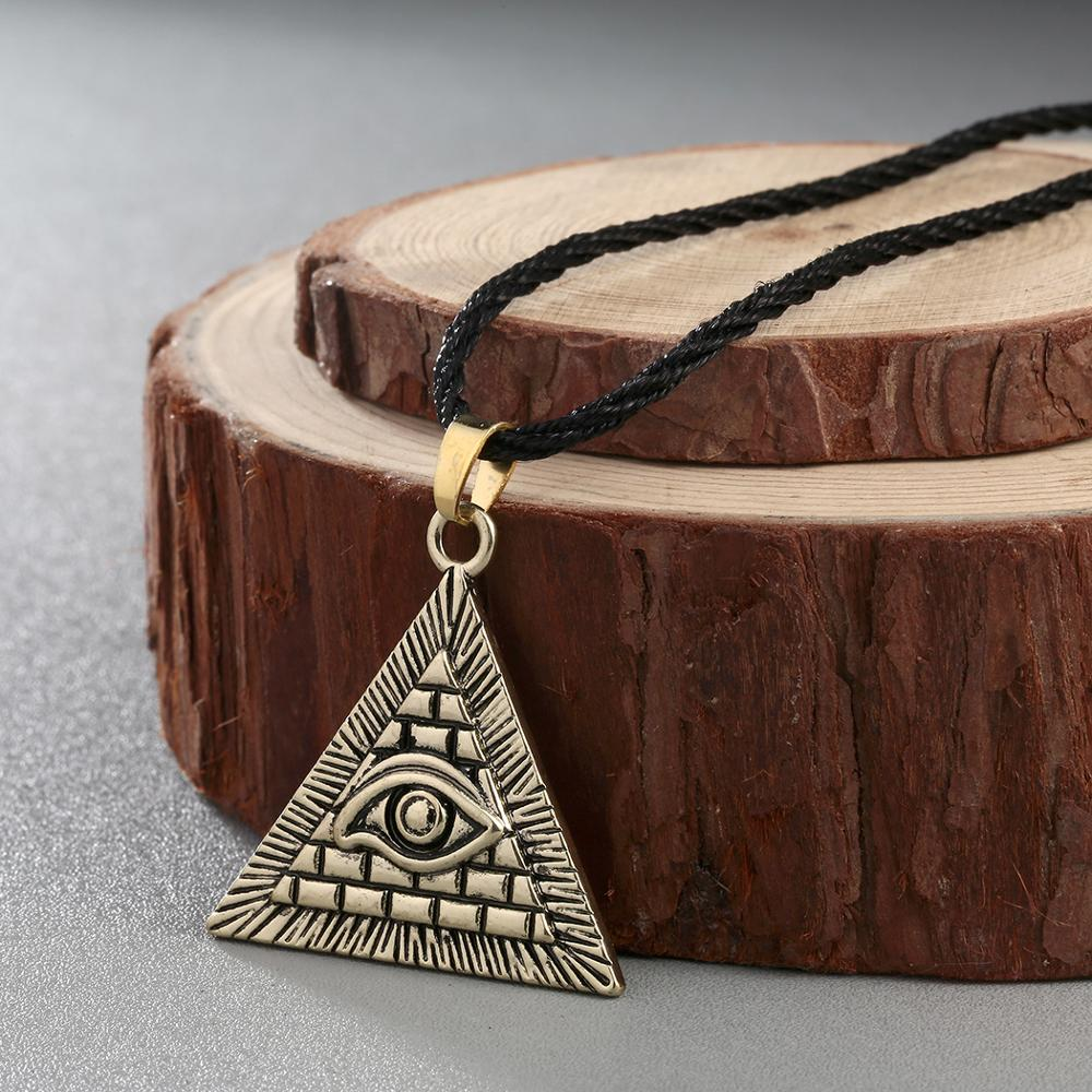 Chereda Egyptian Egypt Pyramid Pendants for Men Punk Style Rope Chain Necklaces Triangle Evil Eye Illuminati Jewelry 5