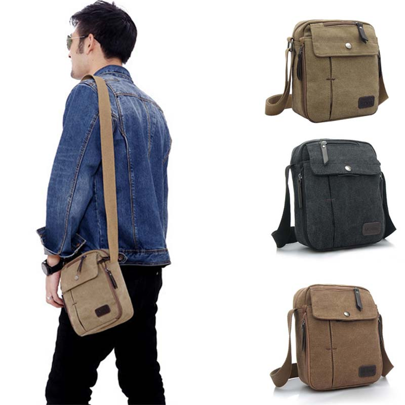 Vintage Canvas Men's Women Crossbody Bag Shoulder Messenger Bags Handbag Male Casual Travel Zipper  BS88
