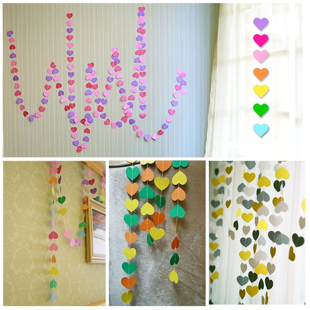 4PCS 4M Colorful Heart Paper Garland Home Accessories Wedding Paper Wall  Hanging Birthday Party Decoration Spring