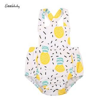 2018 Latest Children's Wear Newborn Baby Girl Clothes Cotton Pineapple Print Jumpsuit Playsuit Bodysuit Outfit Playsuit 0-18M