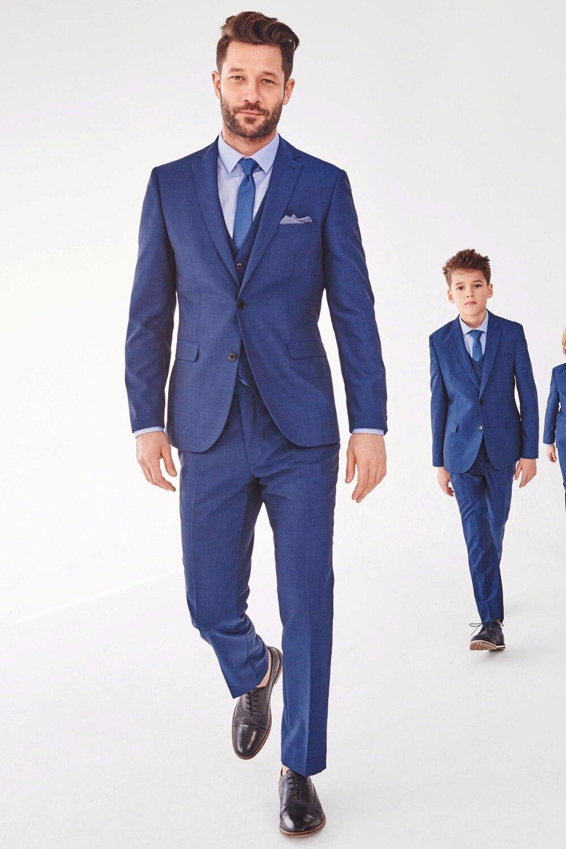 2016 Темно синие Отец и сын соответствующие Костюмы комплект из 3 предметов Slim Fit Свадебное Пром ужин Костюмы для Для мужчин Жених Смокинги для