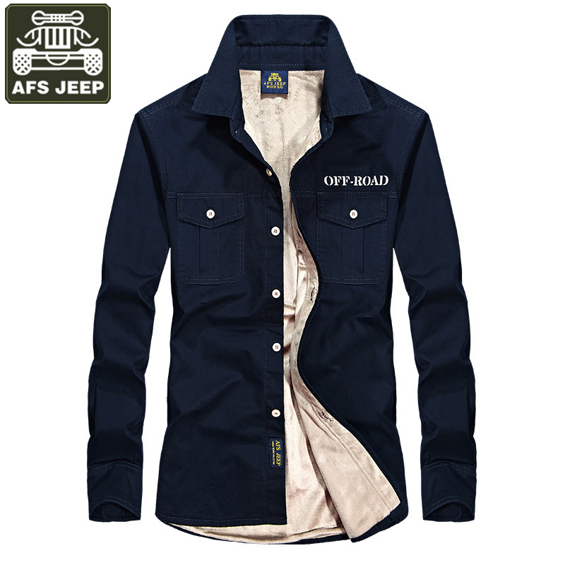 Afs Chaud Camisa Jeep Homme Longues Blue Green Chemise Polaire Sociale Coton Navy Masculina Casual kaki Manches Pur Hommes Chemises Marque army rYzqw4r
