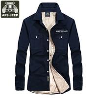 AFS JEEP Brand Shirt Men Casual Shirts Warm Fleece Man S Shirt Camisa Social Masculina Long