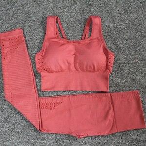 Image 4 - 24 色 2 ピース/セットスポーツスーツシームレスヨガセット女性のフィットネス衣類スポーツウェアジムレギンスプッシュアップパッド ストラップスポーツブラ
