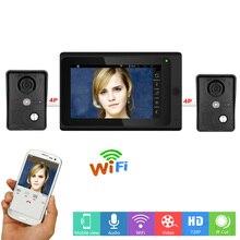 YobangSecurity 7 Inch Monitor Wifi Wireless Video Door Phone Doorbell Video Door Entry Camera Intercom System 2 Camera 1 Monitor