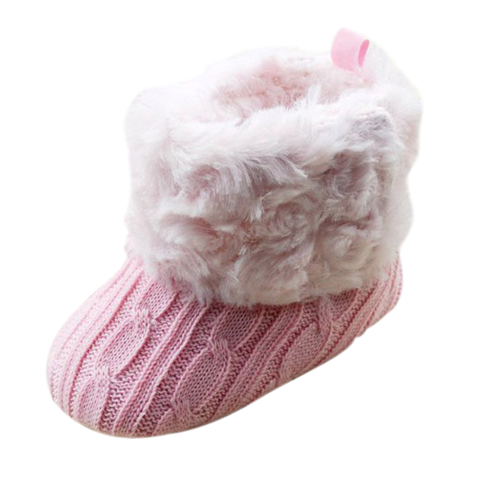 Infant Baby Crochet/Knit Fleece Boots Girl Wool Snow Shoes