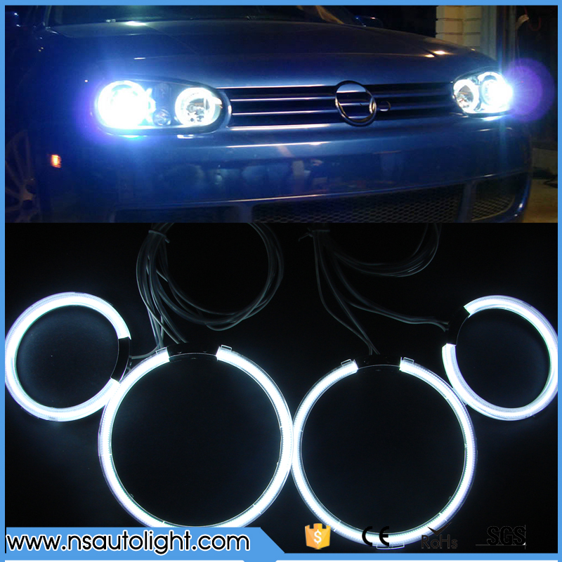 Free Shipping CCFL angel eyes 9-16V DC 90mm&125mm 8000k white halo rings bulbs for Golf 4 IV MK4  auto headlights ccfl rings for uaz patriot ccfl angel eyes rings kit non projector halo rings car eyes free shipping