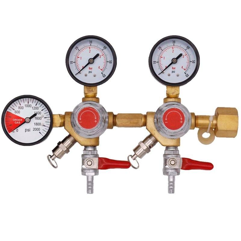 Двойной корпус CO2 проект регулятор подачи пива с 1/4 Барб контрольные клапаны, Homebrew CO2 регулятор, 0 ~ 2000psi, 0 ~ 60psi, CGA320
