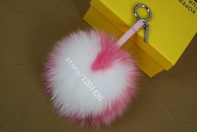 6cee488a4387 Heart Shape keychain Fox Fur Love pom pom key chain Handbags fur ball  keychains Leather Pendant white Heart 5 color 6