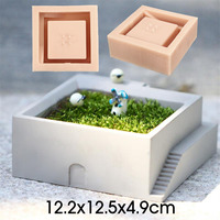 DIY Silicone Flower Pot Molds Concrete Square Round With Stairs Styles Desktop Moss Bonsai Cement Flower Pot Mold Home Decorate